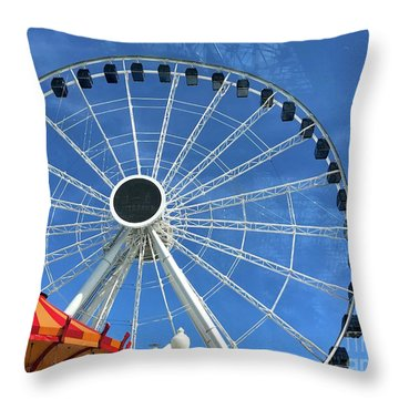 Wheels On Fire Throw Pillow by Trish Hale