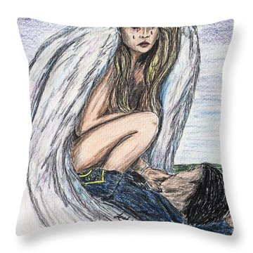 When Angels Cry Throw Pillow