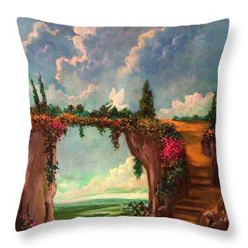 When Angels Garden In Heaven Throw Pillow