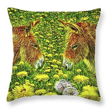 When Donkeys Speak Throw Pillow by Joel Bruce Wallach