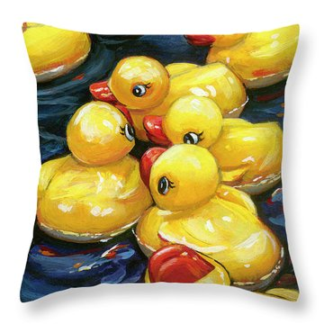 When Ducks Gossip Throw Pillow