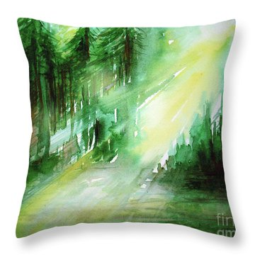 When Forest Sings Throw Pillow by Allison Ashton
