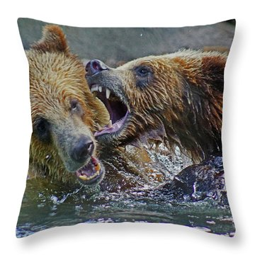 When Grizzlies Play Throw Pillow