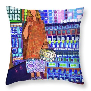 Throw Pillow featuring the painting When I Was Cool by Donna Howard