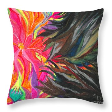 Throw Pillow featuring the painting When Pain Comes by Ania M Milo