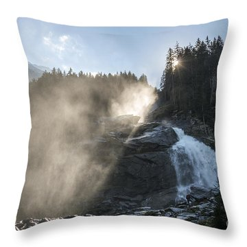 When Sunlight And Water Spray Meet 10 Throw Pillow