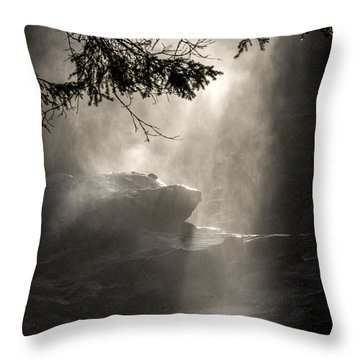 When Sunlight And Water Spray Meet Throw Pillow