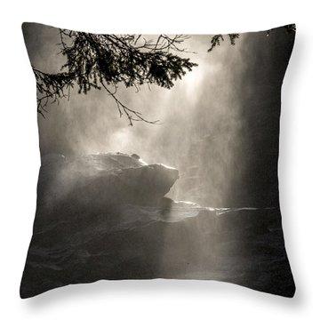 When Sunlight And Water Spray Meet Throw Pillow