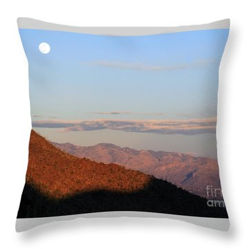 Throw Pillow featuring the photograph When The Mountains Turn Pink... by Paula Guttilla