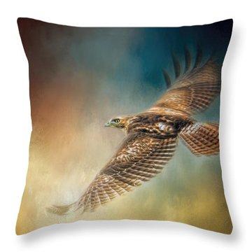 When The Redtail Flies At Sunset Hawk Art Throw Pillow