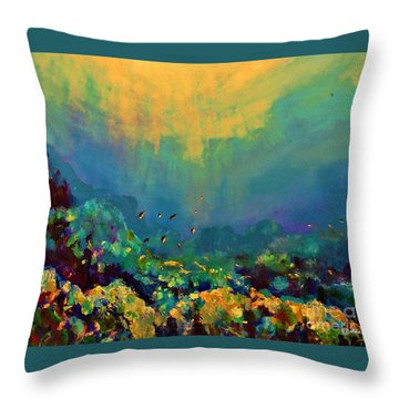 Throw Pillow featuring the painting When The Sun Is Looking Into The Sea by AmaS Art