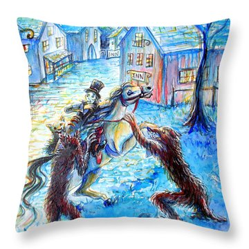 Throw Pillow featuring the painting When Werewolves Attack by Heather Calderon