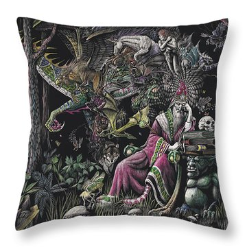 When Wizards Dream Throw Pillow by Stanley Morrison