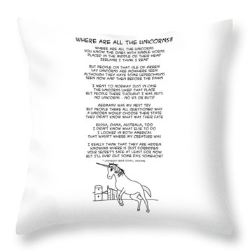 Throw Pillow featuring the drawing Where Are All The Unicorns by John Haldane