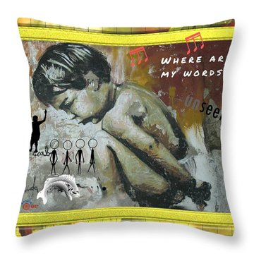 Where Are My Words? Throw Pillow