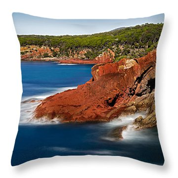 Where Blue Water Meets Red Rock Throw Pillow