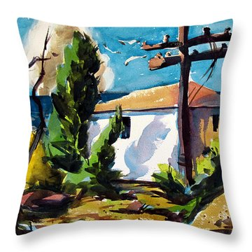 Throw Pillow featuring the painting Where I Will Be Double Matted And Plexi-glass Metal Framed by Charlie Spear