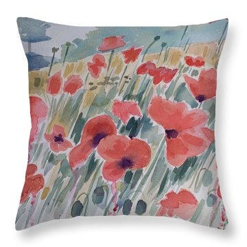 Where Poppies Grow Throw Pillow