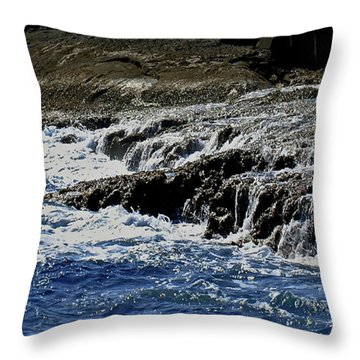 Where Sea And Shore Become One Throw Pillow by DigiArt Diaries by Vicky B Fuller