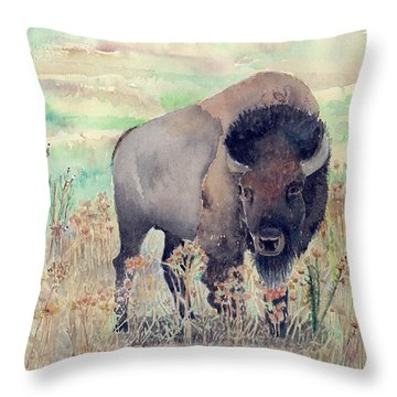 Where The Buffalo Roams Throw Pillow by Arline Wagner