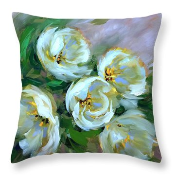 Where The Day Goes White Tulips Throw Pillow by Nancy Medina