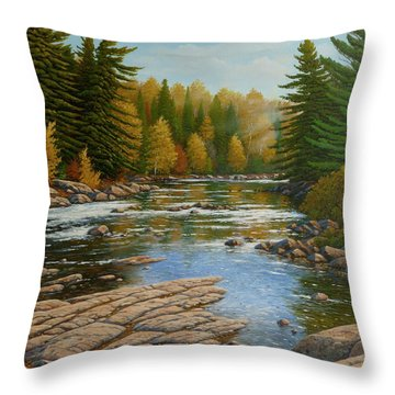 Where The River Flows Throw Pillow