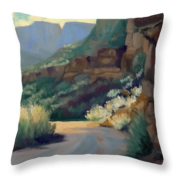 Where The Road Bends Throw Pillow