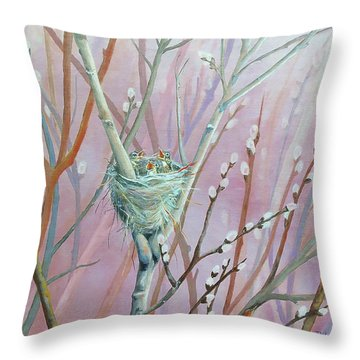 Throw Pillow featuring the painting Where's Mama by Susan DeLain