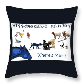 Where's Mum Throw Pillow