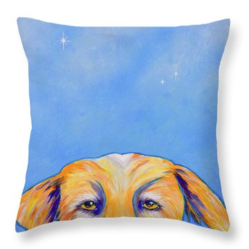 Throw Pillow featuring the painting Where's The Food? by Mary Scott