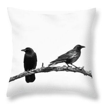 Which Way Two Black Crows On White Square Throw Pillow
