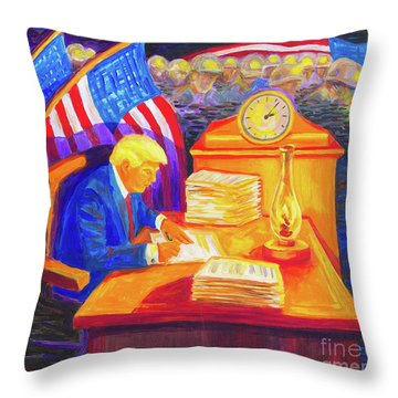 While America Sleeps - President Donald Trump Working At His Desk By Bertram Poole Throw Pillow by Thomas Bertram POOLE