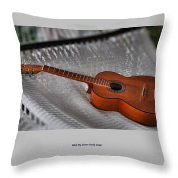 Throw Pillow featuring the photograph While My Guitar Gently Sleeps by Jim Walls PhotoArtist