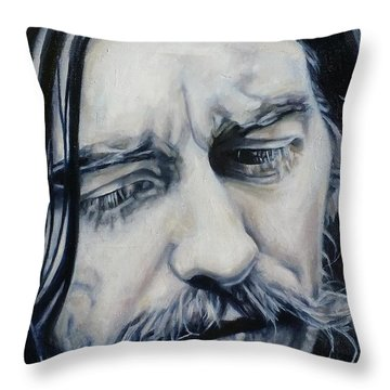 While My Guitar Throw Pillow by Rebecca Glaze