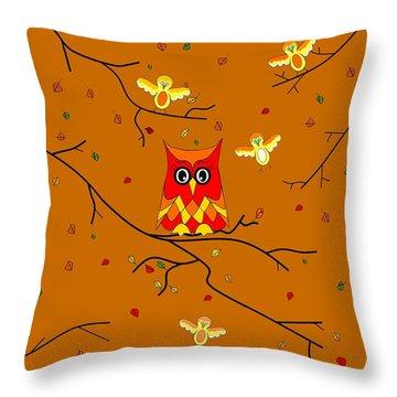 Whimsical Autumn Colors - Birds Owls Throw Pillow