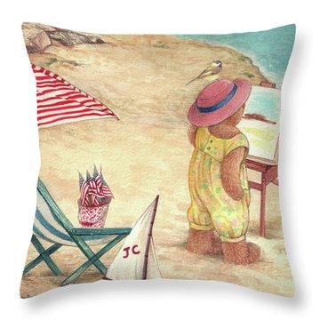 Whimsical Bear On The Beach Throw Pillow