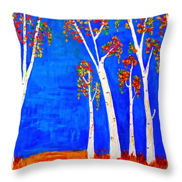 Whimsical Birch Trees Throw Pillow