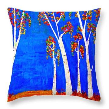 Whimsical Birch Trees Throw Pillow