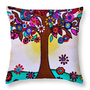 Throw Pillow featuring the painting Whimsical Blooming Tree by Pristine Cartera Turkus