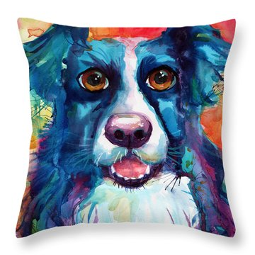 Whimsical Border Collie Dog Portrait Throw Pillow