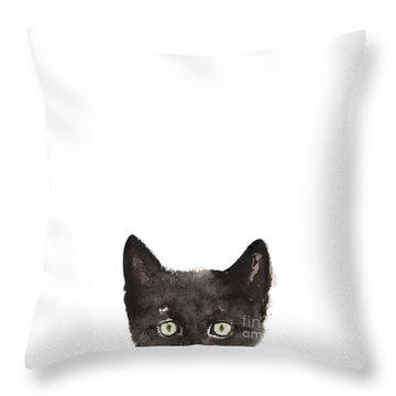 Whimsical Cat Poster, Funny Animal Black Cat Drawing, Peeking Cat Art Print, Animals Painting Throw Pillow