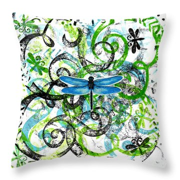 Whimsical Dragonflies Throw Pillow