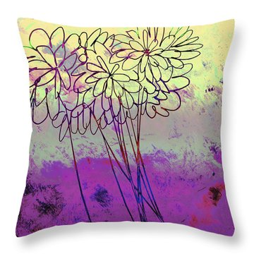 Whimsical Flower Bouquet Throw Pillow by Ann Powell