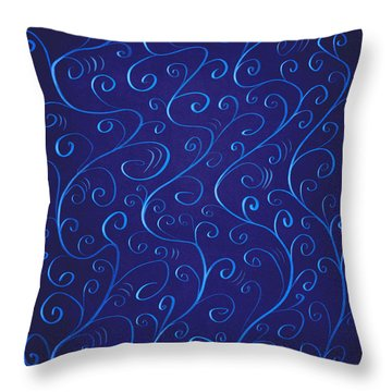 Whimsical Glowing Blue Swirls Throw Pillow