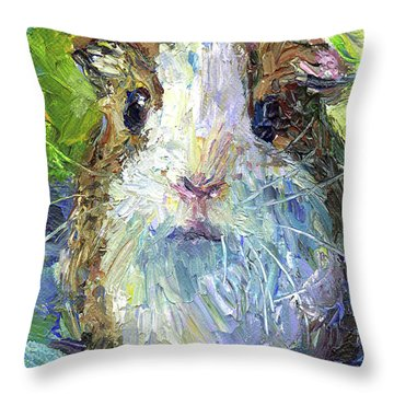 Whimsical Guinea Pig Painting Print Throw Pillow
