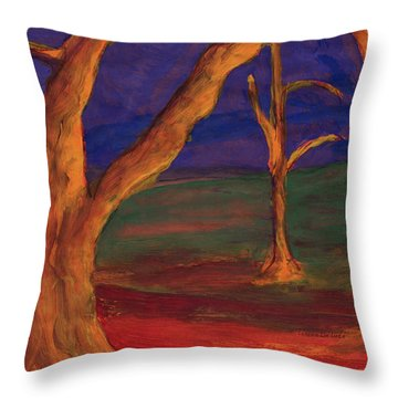 Whimsical Landscape With Intense Colors Throw Pillow