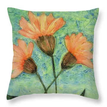 Whimsical Orange Flowers - Throw Pillow by Helen Campbell