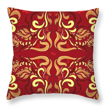 Whimsical Organic Pattern In Yellow And Red I Throw Pillow