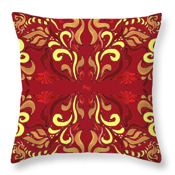 Whimsical Organic Pattern In Yellow And Red II Throw Pillow