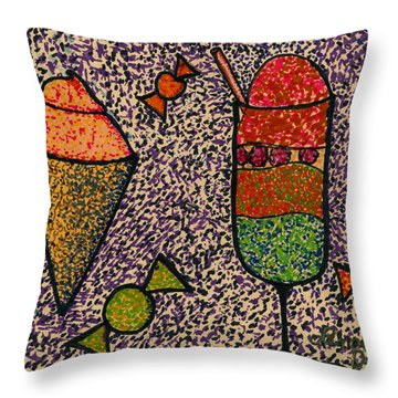 Whimsical Pointillism Desserts For Children Throw Pillow by Lenora  De Lude
